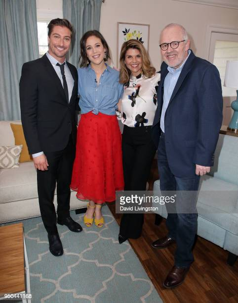 Actors Daniel Lissing Erin Krakow and Lori Loughlin and executive producer Brian Bird visit Hallmark's Home Family at Universal Studios Hollywood on...