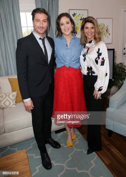 Actors Daniel Lissing Erin Krakow and Lori Loughlin visit Hallmark's Home Family at Universal Studios Hollywood on April 23 2018 in Universal City...