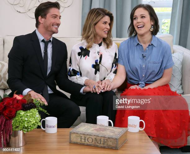 Actors Daniel Lissing Lori Loughlin and Erin Krakow visit Hallmark's Home Family at Universal Studios Hollywood on April 23 2018 in Universal City...