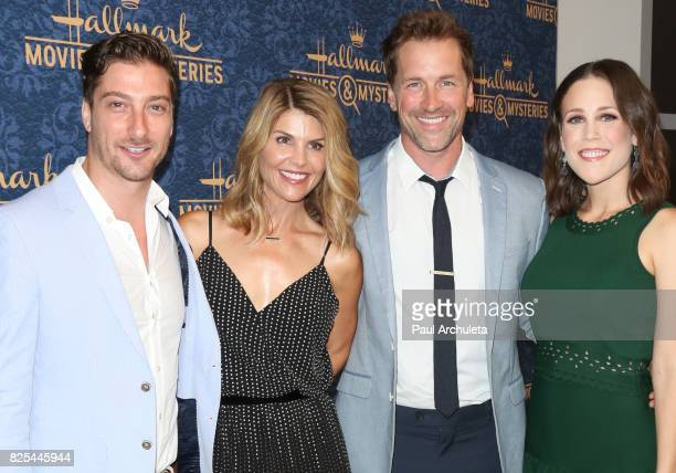 Actors Daniel Lissing Lori Loughlin Paul Greene and Erin Krakow attends the premiere of Hallmark Movies Mysteries' 'Garage Sale Mystery' at The Paley...
