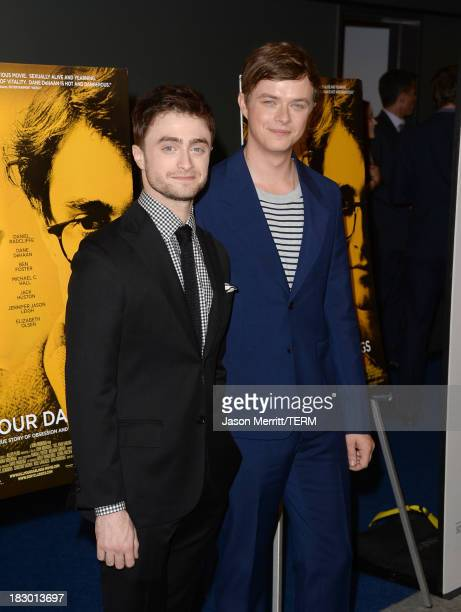 Actors Daniel Radcliffe and Dane DeHaan arrive at the premiere of Sony Pictures Classics' Kill Your Darlings at Writers Guild Theater on October 3...