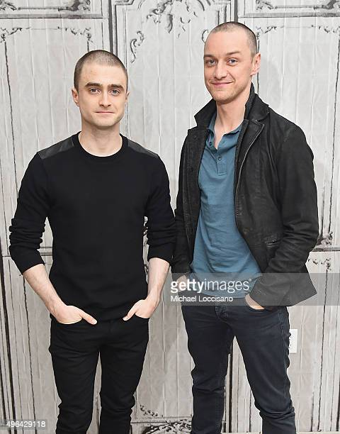 Actors Daniel Radcliffe and James McAvoy attend the AOL BUILD Speaker Series 'Victor Frankenstein' at AOL Studios In New York on November 9 2015 in...