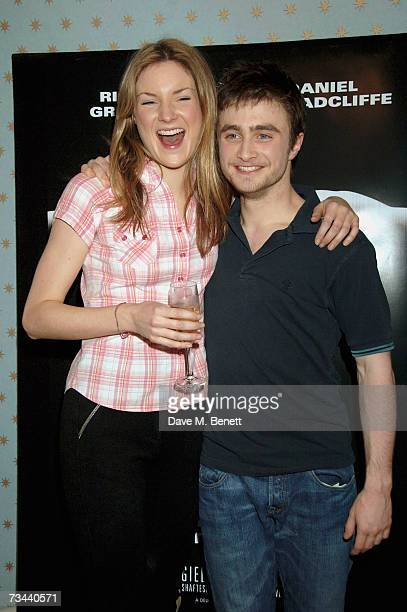 Actors Daniel Radcliffe and Joanne Christie pose backstage during the press night of 'Equus' at the Gielgud Theatre on February 27 2007 in London...