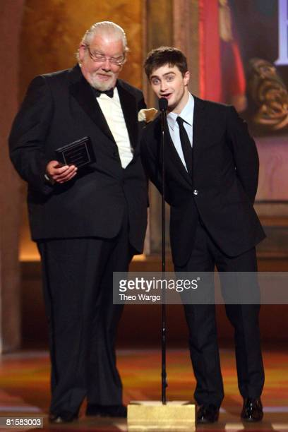 Actors Daniel Radcliffe and Richard Griffith speak on stage during the 62nd Annual Tony Awards at Radio City Music Hall on June 15 2008 in New York...