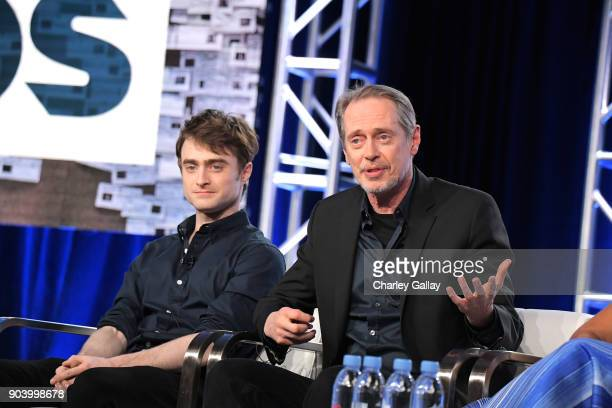 Actors Daniel Radcliffe and Steve Buscemi of 'Miracle Workers' speak onstage during the TBS portion of the TCA Turner Winter Press Tour 2018...