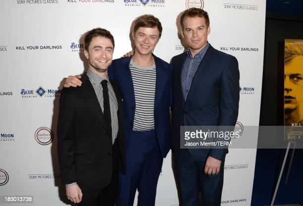Actors Daniel Radcliffe Dane DeHaan and Michael C Hall arrive at the premiere of Sony Pictures Classics' Kill Your Darlings at Writers Guild Theater...
