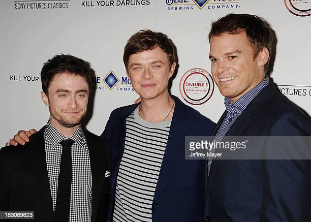 Actors Daniel Radcliffe Dane DeHaan and Michael C Hall arrive at the Los Angeles premiere of 'Kill Your Darlings' at the Writers Guild Theater on...
