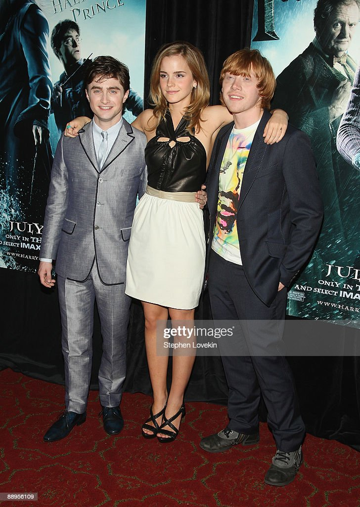 Actors Daniel Radcliffe, Emma Watson and Rupert Grint attend the 'Harry Potter and the Half-Blood Prince' premiere at Ziegfeld Theatre on July 9, 2009 in New York City.