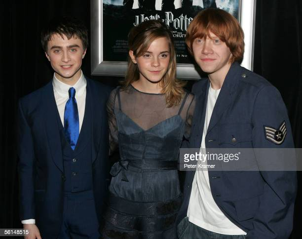 Actors Daniel Radcliffe Emma Watson and Rupert Grint attend the premiere of 'Harry Potter and the Goblet of Fire' on November 12 2005 in New York City