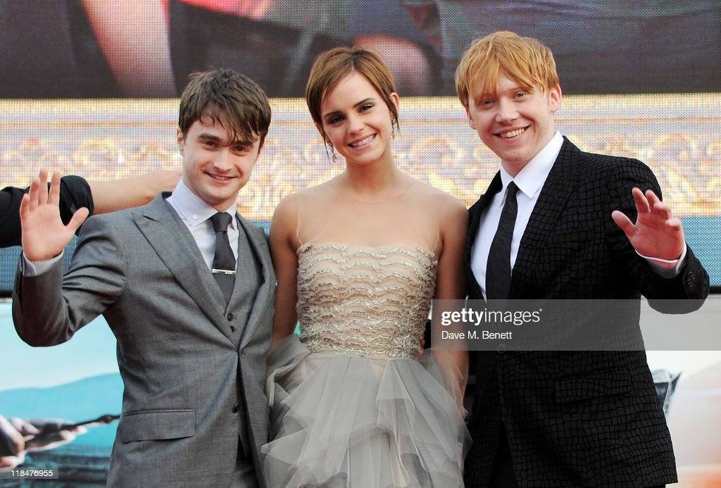 Actors Daniel Radcliffe, Emma Watson and Rupert Grint attend the World Premiere of 'Harry Potter And The Deathly Hallows Part 2' in Trafalgar Square on July 7, 2011 in London, England.