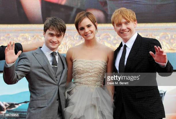 Actors Daniel Radcliffe, Emma Watson and Rupert Grint attend the World Premiere of 'Harry Potter And The Deathly Hallows Part 2' in Trafalgar Square...