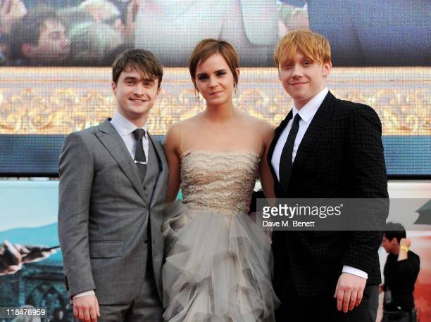 Actors Daniel Radcliffe Emma Watson and Rupert Grint attend the World Premiere of 'Harry Potter And The Deathly Hallows Part 2' in Trafalgar Square...