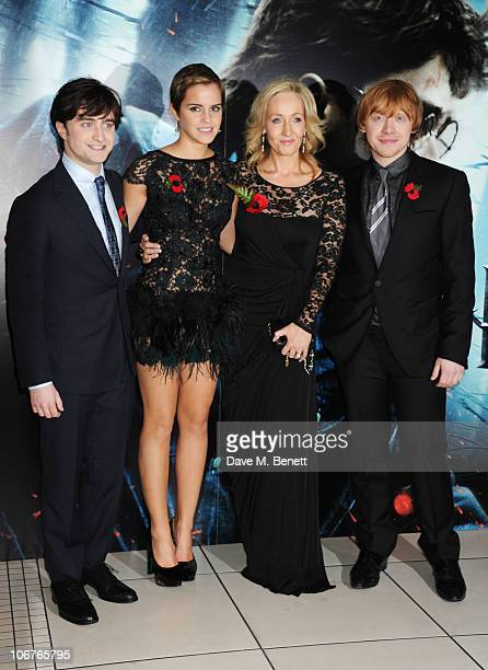 Actors Daniel Radcliffe Emma Watson author JK Rowling and actor Rupert Grint attend the World Premiere of Harry Potter And The Deathly Hallows Part 1...