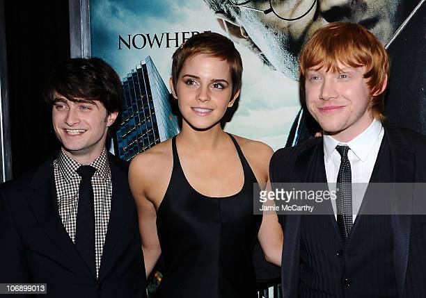Actors Daniel Radcliffe Emma Watson Rupert Grint and Tom Felton attend the premiere of Harry Potter and the Deathly Hallows Part 1 at Alice Tully...