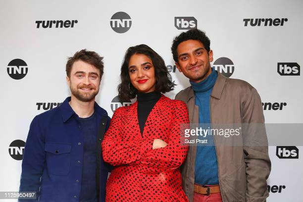 Actors Daniel Radcliffe Geraldine Viswanathan and Karan Soni pose for a photo at the Miracle Workers Sundance Hangover Brunch on January 26 2019 in...