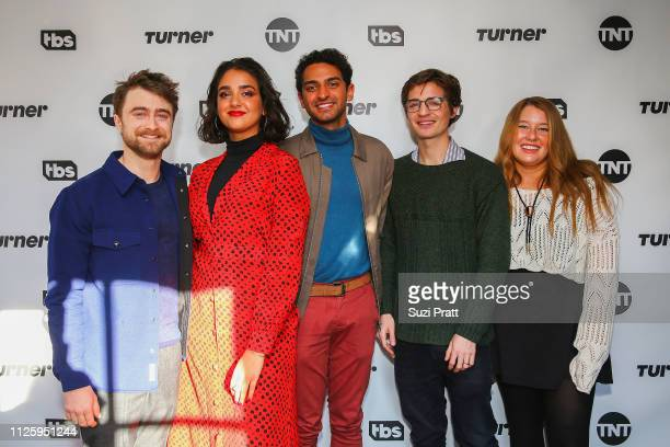 Actors Daniel Radcliffe Geraldine Viswanathan Karan Soni and writers Simon Rich and Rachel Handler pose for a photo at the Miracle Workers Sundance...
