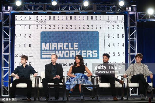 Actors Daniel Radcliffe Steve Buscemi Geraldine Viswanathan Karan Soni and Simon Rich of the TBS television show Miracle Workers speak onstage during...