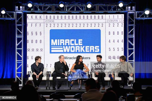 Actors Daniel Radcliffe Steve Buscemi Geraldine Viswanathan Karan Soni and Executive producer Simon Rich of 'Miracle Workers' speak onstage during...