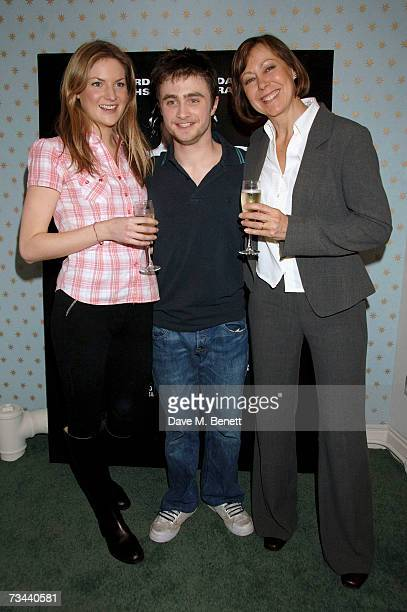 Actors Daniel Radcliffe with Joanne Christie and Jenny Agutter pose backstage during the press night of 'Equus' at the Gielgud Theatre on February 27...