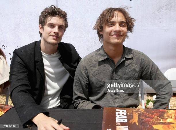 Actors Daniel Sharman and Frank Dillane sign autographs at the 'Fear the Walking Dead' Autograph Signing for AMC At Comic Con 2017 Day 3 on July 22...