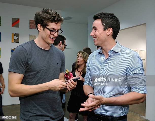 Actors Daniel Sharman and Huw Collins attend Landon Ross ARTIfACT exhibition opening at LAXART on July 14 2016 in Los Angeles California
