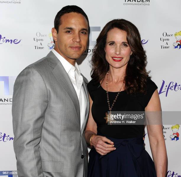 Actors Daniel Sunjata and Andie MacDowell attend the screening of the Lifetime Original Movie Patricia Cornwell's The Front at Hearst Tower on April...