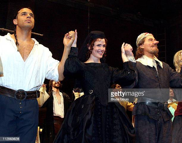 Actors Daniel Sunjata Jennifer Garner and Kevin Kline take their Curtain Call at The Opening Night of The Revival of Cyrano at The Richard Rodgers...