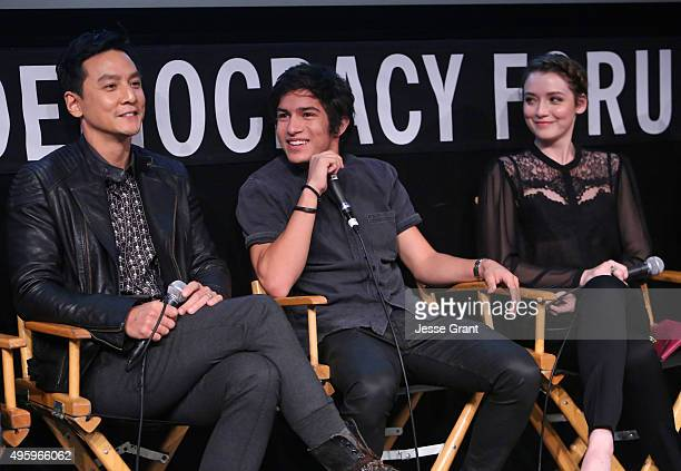Actors Daniel Wu Aramis Knight and Sarah Bolger participate in a panel discussion onstage at AMC and CAPE Celebrate Into The Badlands at the Japanese...