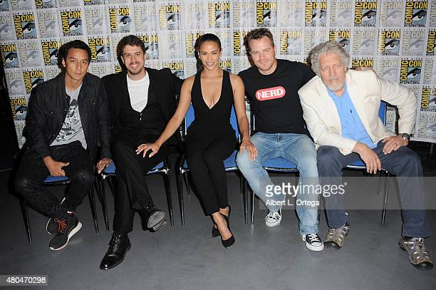 Actors Daniel Wu Toby Kebbell Paula Patton Rob Kazinsky and Clancy Brown pose at the Legendary Pictures panel during ComicCon International 2015 the...