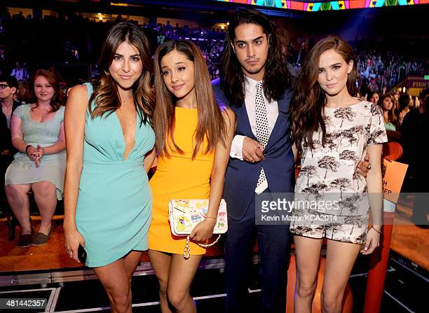 Actors Daniella Monet Ariana Grande Avan Jogia and Avan Jogia attend Nickelodeon's 27th Annual Kids' Choice Awards held at USC Galen Center on March...