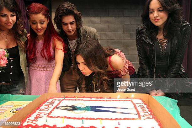 Actors Daniella Monet Ariana Grande Avan Jogia Victoria Justice and Elizabeth Gillies attend a surprise birthday celebration for Nickelodeon star...