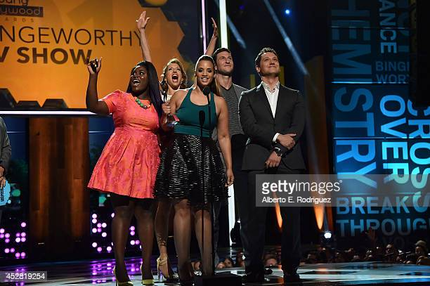 Actors Danielle Brooks Alysia Reiner Dascha Polanco Pablo Schreiber and Matt McGorry speak onstage at the 2014 Young Hollywood Awards brought to you...