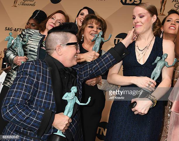 Actors Danielle Brooks Dale Soules Lea DeLaria Beth Dover Lin Tucci Emma Myles and Elizabeth Rodriguez pose in the press room during the 23rd Annual...