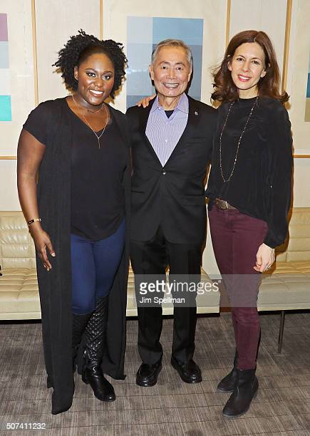 Actors Danielle Brooks George Takei and Jessica Hecht attend the Theatre Forward's 13th Annual Broadway Roundtable at UBS Headquarters on January 29...
