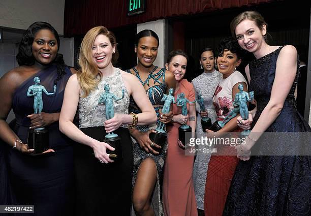 Actors Danielle BrooksNatasha Lyonne Vicky JeudyTaryn Manning Dascha Polanco Selenis Leyva and Lauren Lapkus accepts awards for Outstanding...