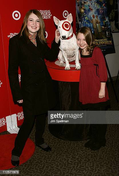Actors Danielle Hanratty and Sammi Hanratty with Bullseye the Target dog arrives at the 'Mr Magorium's Wonder Emporium' Premiere at the DGA Theater...
