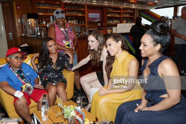 Actors Danielle Nicolet Danielle Panabaker Jessica Parker Kennedy Candice Patton and MakeAWish Foundation recipients attend the #IMDboat At San Diego...