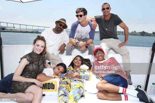 Actors Danielle Panabaker Jesse L Martin Carlos Valdes Candice Patton Grant Gustin Keiynan Lonsdale and Tom Cavanagh on the #IMDboat at San Diego...