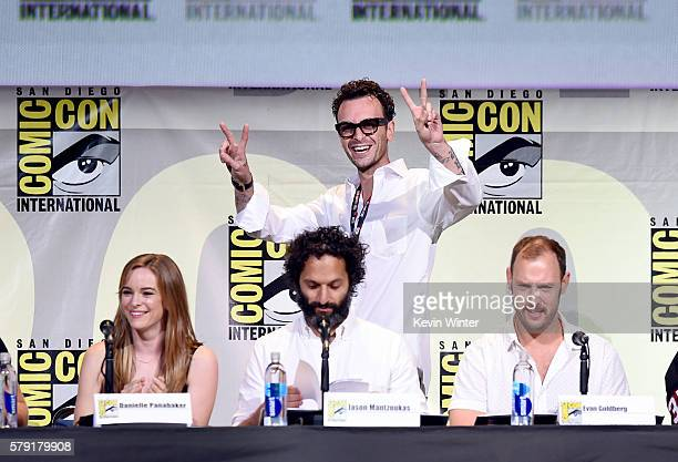 Actors Danielle Panabaker Joseph Gilgun and Jason Mantzoukas and writer/director Evan Goldberg attend AMC's Preacher panel during ComicCon...