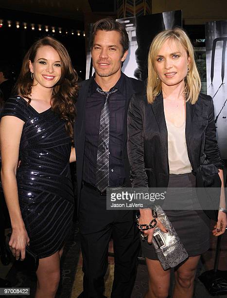"""Actors Danielle Panabaker, Timothy Olyphant and Radha Mitchell attend a special screening of """"The Crazies"""" at the Vista Theatre on February 23, 2010..."""
