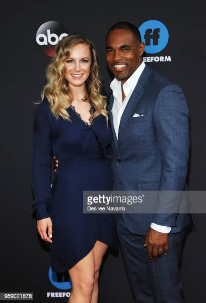 Actors Danielle Savre and Jason George attend the 2018 Disney ABC Freeform Upfront on May 15 2018 in New York City