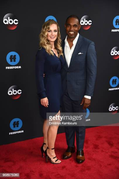 Actors Danielle Savre and Jason George of Station 19 attend during 2018 Disney ABC Freeform Upfront at Tavern On The Green on May 15 2018 in New York...