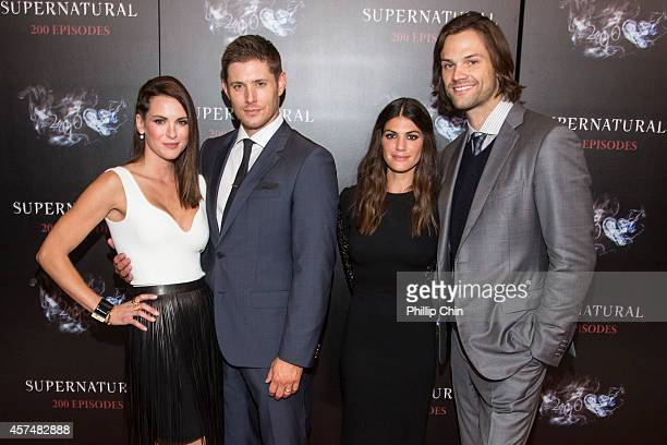 Actors Danneel Ackles Jensen Ackles Genevieve Cortes and Jared Padalecki attend the 'Supernatural' 200th episode celebration at the Fairmont Pacific...