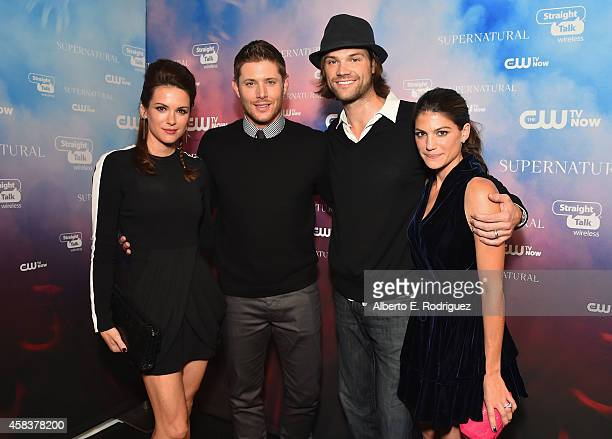 Actors Danneel Harris Jensen Ackles Jared Padalecki and Genevieve Padalecki attend the CW's Fan Party to Celebrate the 200th episode of Supernatural...