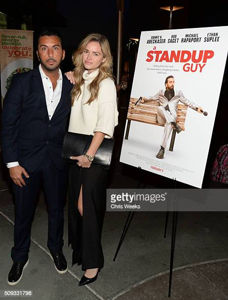 Actors Danny A Abeckaser and Annie Heise attends the premiere for The Orchard's 'A Stand Up Guy' on February 9 2016 in Los Angeles California