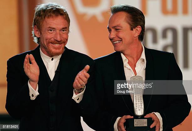 Actors Danny Bonaduce L and David Cassidy prepare to give out the award for the Funniest Family during the taping of the 6th Annual Family Television...