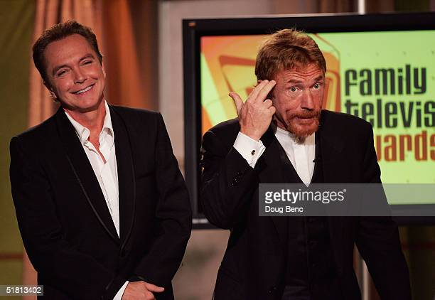 """Actors Danny Bonaduce, R, and David Cassidy prepare to give out the award for the """"Funniest Family"""" during the taping of the 6th Annual Family..."""