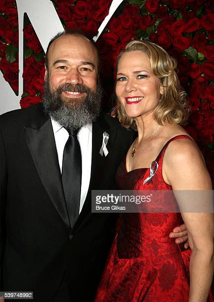 Actors Danny Burstein and Rebecca Luker attend 70th Annual Tony Awards Arrivals at Beacon Theatre on June 12 2016 in New York City