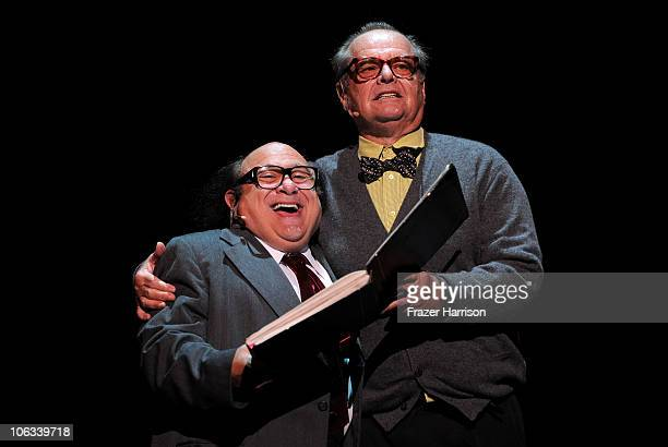 Actors Danny DeVito and Jack Nicholson perform onstage during The Rocky Horror Picture Show 35th anniversary to benefit The Painted Turtle at The...