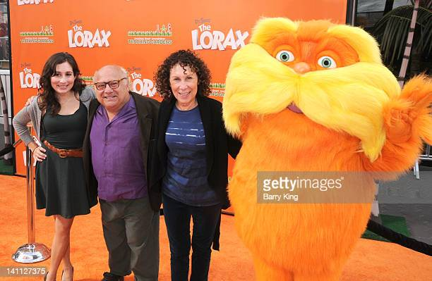 Actors Danny DeVito and Rhea Perlman and daughter Lucy DeVito attend the premiere of Dr Seuss' 'The Lorax' at Universal Studios Hollywood on February...